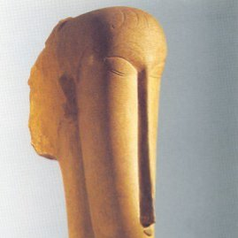 "wikimedia.org nuotr./Amedeo Modigliani skulptūra ""Moters galva"""
