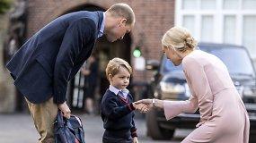 Svarbi diena: į pirmąją klasę princą George'ą palydėjo tėtis