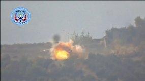 Pamatykite, kaip Sirijos sukilėliai numušė Rusijos sraigtasparnį