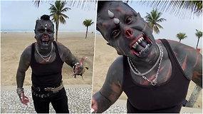 Tatuiruočių meistras iš Brazilijos stebina savo kūno transformacijomis ir demoniška išvaizda