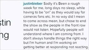 Justinas Bieberis paaiškino INSTAGRAM, kodėl nutraukė koncertą Norvegijoje