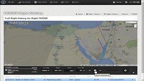 Radarų užfiksuotas katastrofa pasibaigęs Rusijos lėktuvo skrydis virš Egipto