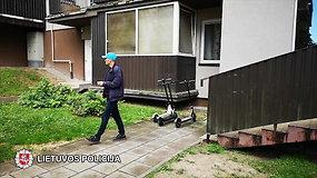 Vilniuje nufilmuotas įtariamasis paspirtukų vagis