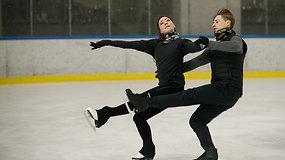 Saulius Ambrulevičius ir Allison Reed parodė olimpinio šokio fragmentus