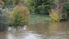 Klaipėdoje pakilęs Danės upės vanduo grasina pėsčiųjų takams