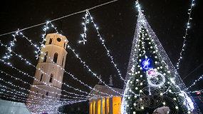 Katedros aikštėje sužibo pagrindinė Lietuvos Kalėdų eglė