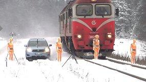 Pamatykite, koks stabdymo kelio skirtumas tarp automobilio ir lokomotyvo