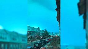 Sprogus elektrinės generatoriui Niujorko naktinis dangus nušvito žydrai
