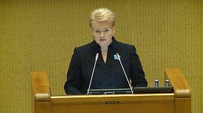 Dalios Grybauskaitės kalba iškilmingame Sausio 13-osios minėjime Seime