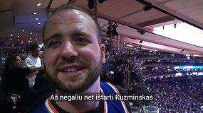 """Niujorko """"Knicks"""" gerbėjai bando ištarti Mindaugo Kuzminsko pavardę"""