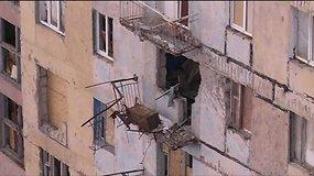Suintensyvėjusių susišaudymų minosvaidžiais padariniai Avdijivkos mieste, Ukrainose rytuose