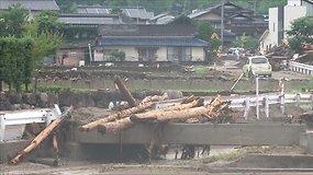 Liūčių sukelto potvynio padarinia Pietų Japonijoje