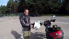 """Patyrusio motociklininko patarimai būsimiems vairuotojams """"Regitros"""" aikštelėje"""