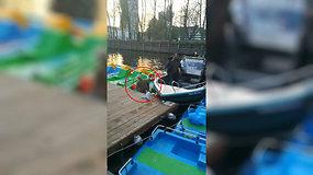 Danės upėje atsitrenkus kateriui sužalota moteris