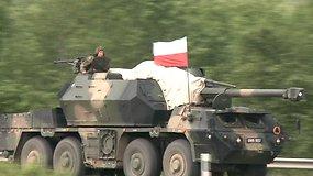 Lenkų karių kolona Kalvarijos pasienio ruože