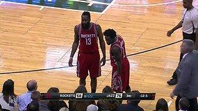 """""""Utah Jazz"""" sirgalius šviečia lazeriu Jamesui Hardenui į akis"""