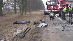 """Nufilmuoti """"Volvo"""" ir VW susidūrimo Kėdainių rajone padariniai"""