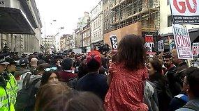 Protestas Londone dėl premjero Davido Camerono atsistatydinimo