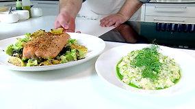 Šefo receptas: šventinis lašišos kepsnys su rizotu ir daržovėmis