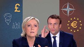 M.Le Pen ir E.Macronas: esminiai skirtumai