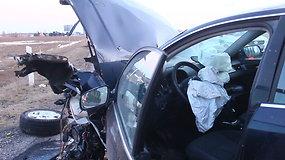 Dviejų automobilių ir miškavežio avarija Panevėžio rajone