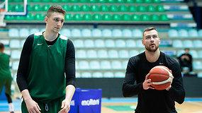 Vakarinė Lietuvos vyrų krepšinio rinktinės treniruotė Monso arenoje