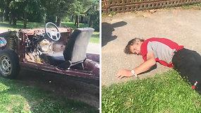 Nufilmuotas neregėtas transportas ir girtutėlis jo vairuotojas