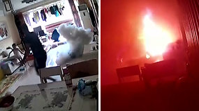 Gąsdinanti akimirka: kambaryje sprogo kraunamas elektrinis paspirtukas