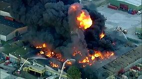 Su didžiuliu gaisru Melburne kovoja 140 ugniagesių – užsiliepsnojo chemijos įmonė