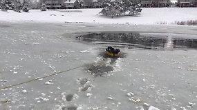 Abejingų nepaliekantis ugniagesių poelgis: išgelbėjo beužšąlančio tvenkinio vandenyje įkalintą šunį