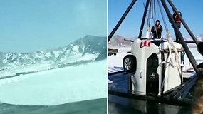 Užfiksuotos košmariškos šeimos atostogų akimirkos: įlūžo važiuodami ledu