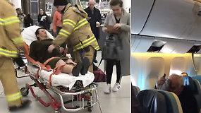"""Košmariškas skrydis dešimčiai baigėsi ligoninėje – per stiprias turbulencijas po orlaivio saloną """"skraidė"""" keleiviai"""