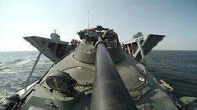 Rusija Kaliningrado srities Baltijos jūros pakrantėje surengė karinio laivyno pratybas