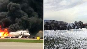 """Nufilmuota, kaip keleiviai evakuojasi iš degančio """"Aeroflot"""" lėktuvo – žuvo 41 žmogus"""