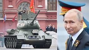 V.Putinas gyrė Rusijos karinę galią: Maskvoje surengtas didelis Pergalės dienos paradas
