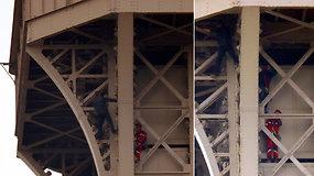 Gąsdinantis poelgis: kone iki Eiffelio bokšto viršaus užsiropštęs žmogus-voras sulaikytas
