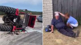 Pirmos minutės po avarijos Trakų rajone: sužeistam traktorininkui – pagalba įvykio vietoje