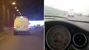 Nufilmuota: pareigūnai pažeidė Kelių eismo taisykles?