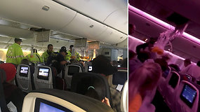 Lėktuve išgyveno košmarą: supurčius stiprioms turbulencijoms keleiviai skraidė po orlaivio saloną