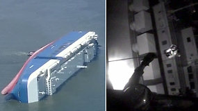 Drama prie JAV krantų: pasvirus ir užsiliepsnojus krovininiam laivui buvo gelbėjama Pietų Korėjos įgula