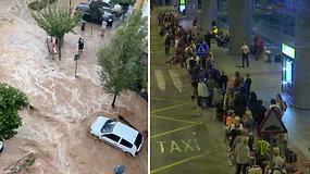 Tūkstančių atostogaujančių košmaras oro uoste – dėl pražūtingų potvynių negali pasiekti kelionės tikslo