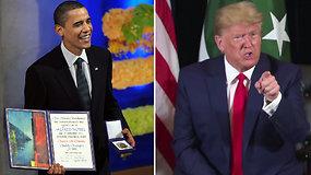 D.Trumpas pasiskundė, kad vis dar negavo Nobelio premijos – dėl vieno dalyko sutiko net su B.Obama
