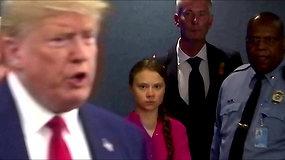 Internete žaibiškai išplito G.Thunberg reakcija į D.Trumpą: prezidentą sekė lediniu žvilgsniu