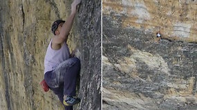 Kvapą gniaužiantis rekordas: alpinistas be jokios saugumo įrangos įveikė sudėtingą 550 m aukščio uolą