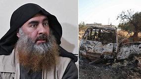 """Paviešinti JAV vykdyto karinio reido, per kurį žuvo """"Islamo valstybės"""" lyderis, padarinių vaizdai"""