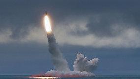 Rusijos naujausias povandeninis laivas atliko bandomąjį balistinės raketos paleidimą
