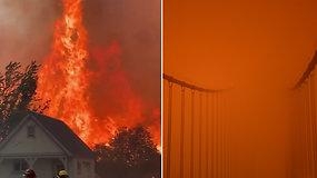 Grėsmingas raudonas dangus priminė apokalipsę – Kalifornija grumiasi su didžiausiu per istoriją gaisru