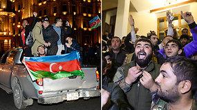 Azerbaidžano gatvėse šventė, o Armėnijoje protestuotojai niokoja vyriausybinius pastatus