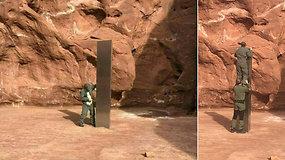 Vidury dykumos pastebėjo be galo nustebinusį objektą: aptiktas paslaptingas metalo monolitas