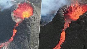 Iš viršaus nufilmavo grėsmingą, bet kvapą gniaužiantį išsiveržusio ugnikalnio vaizdą